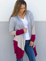 Color Block Cardigan - Burgundy