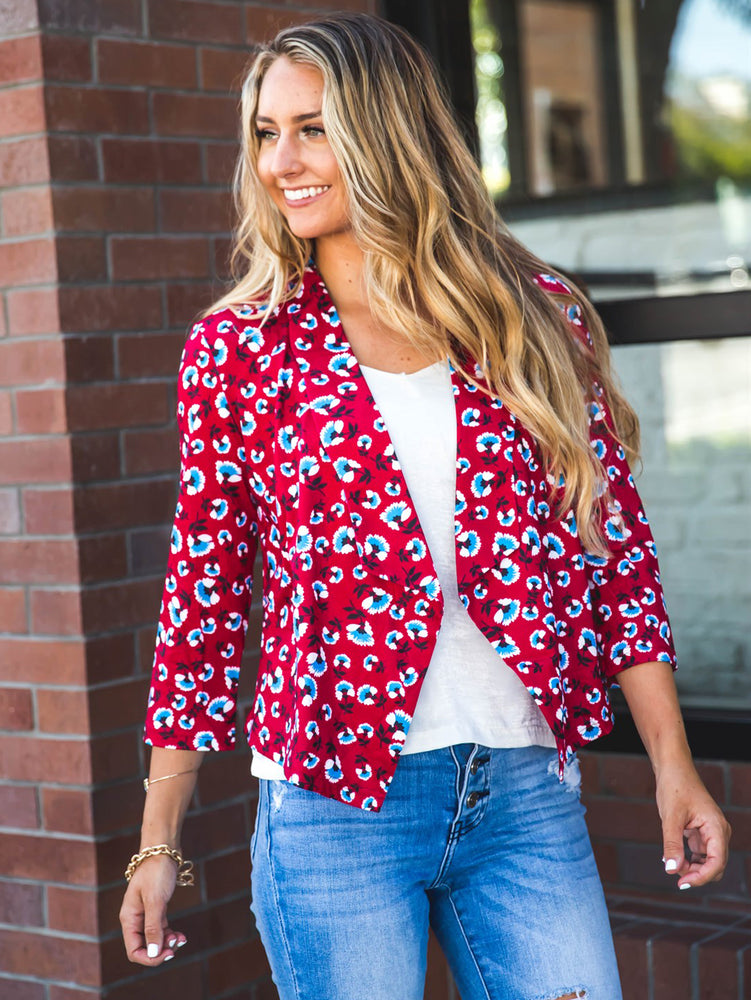 Floral Blazer - Red/Blue Floral