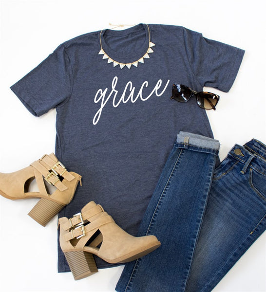Grace Crew Neck Tee - Tickled Teal LLC