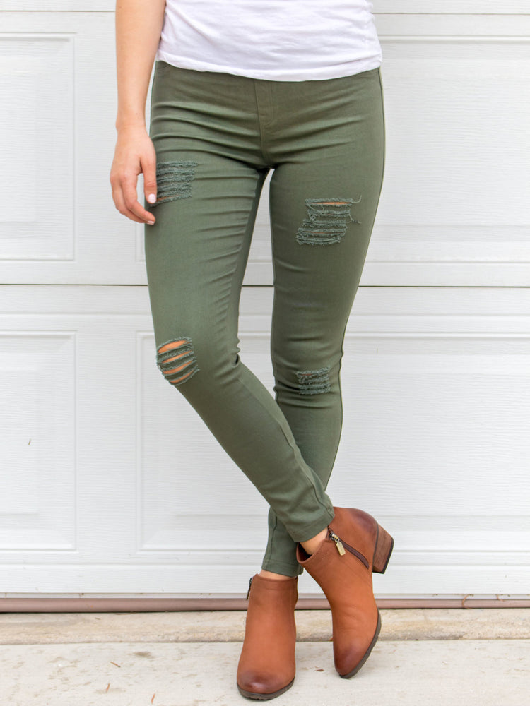 Distressed Jeggings - Olive