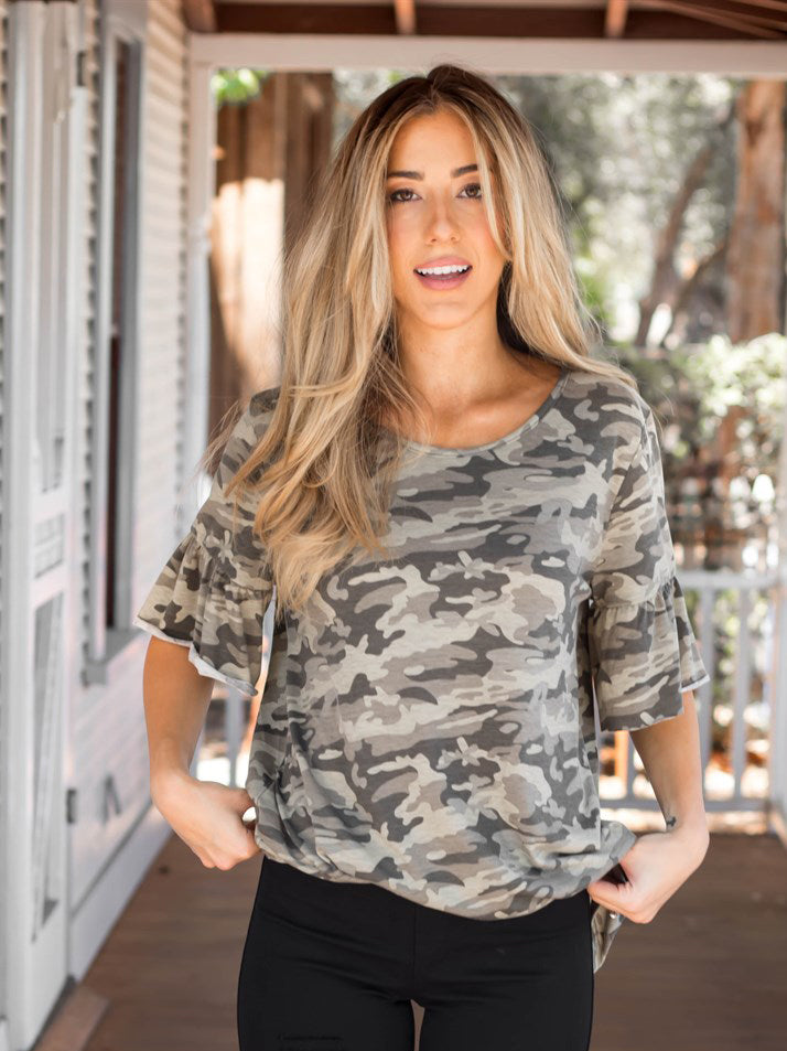 Camo Flare Sleeve Top