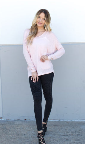 Lightweight Summer Sweater - Blush Pink