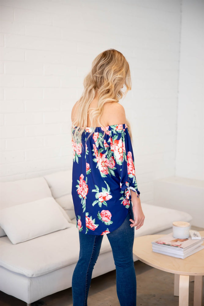 Floral Mila Off Shoulder Top - Blue