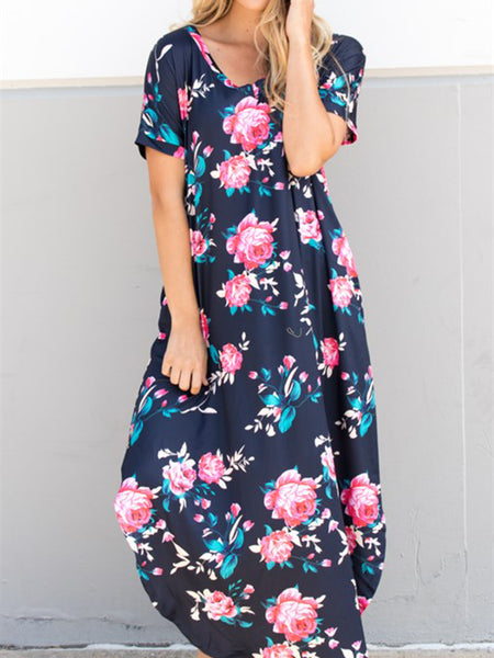 Relaxed Floral Maxi Dress - Navy - Tickled Teal LLC