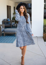 The Triana Dress - Blue Cheetah