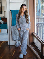 The Nelly Pajama Set - Small Blue Cheetah