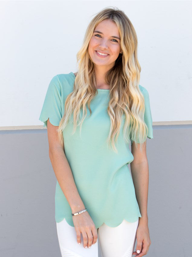 Scallop Edge Top - Mint