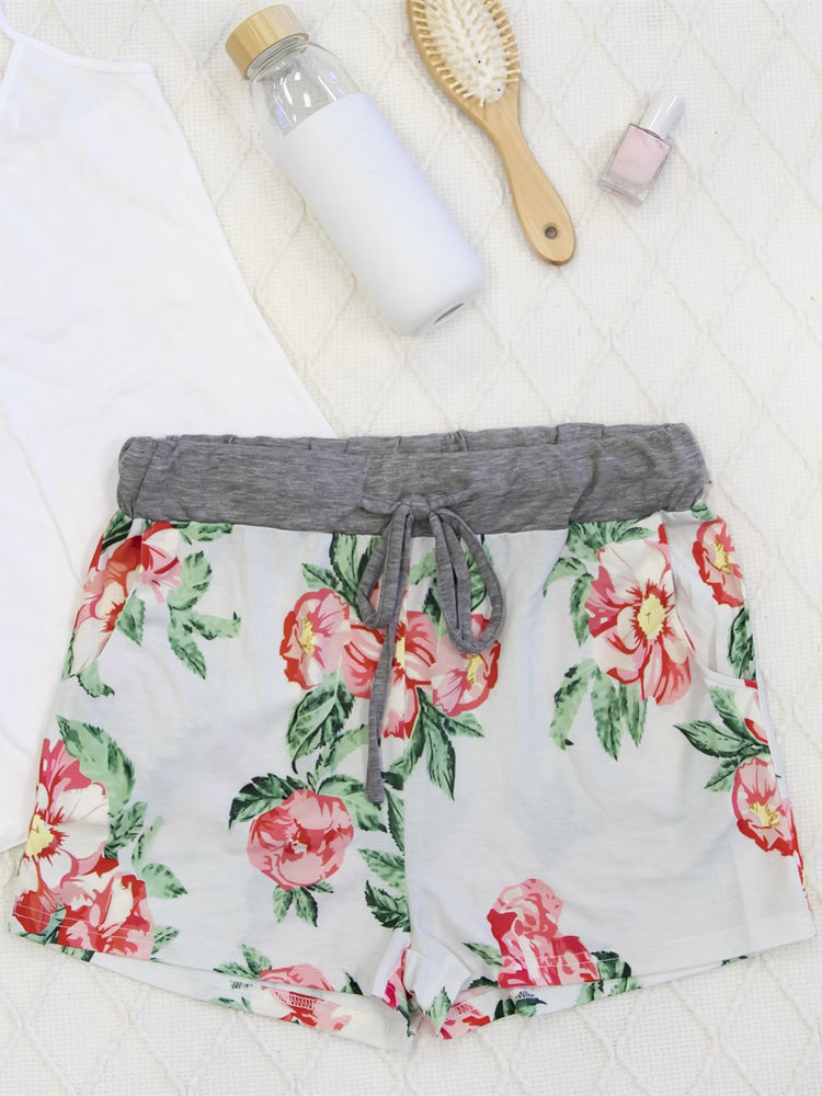 Floral Lounge Shorts - White