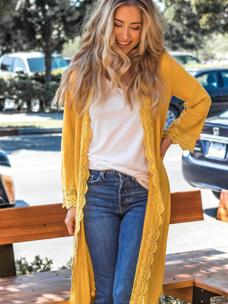 3/4 Sleeve Lace Trim Cardigan - Mustard