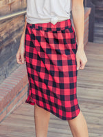 Buffalo Plaid Weekend Skirt - Red - S-3X