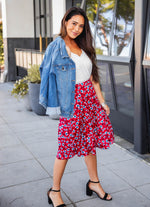 Floral Laura Skirt - Red/Blue