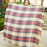 Tan Green Red Plaid Blanket Scarf