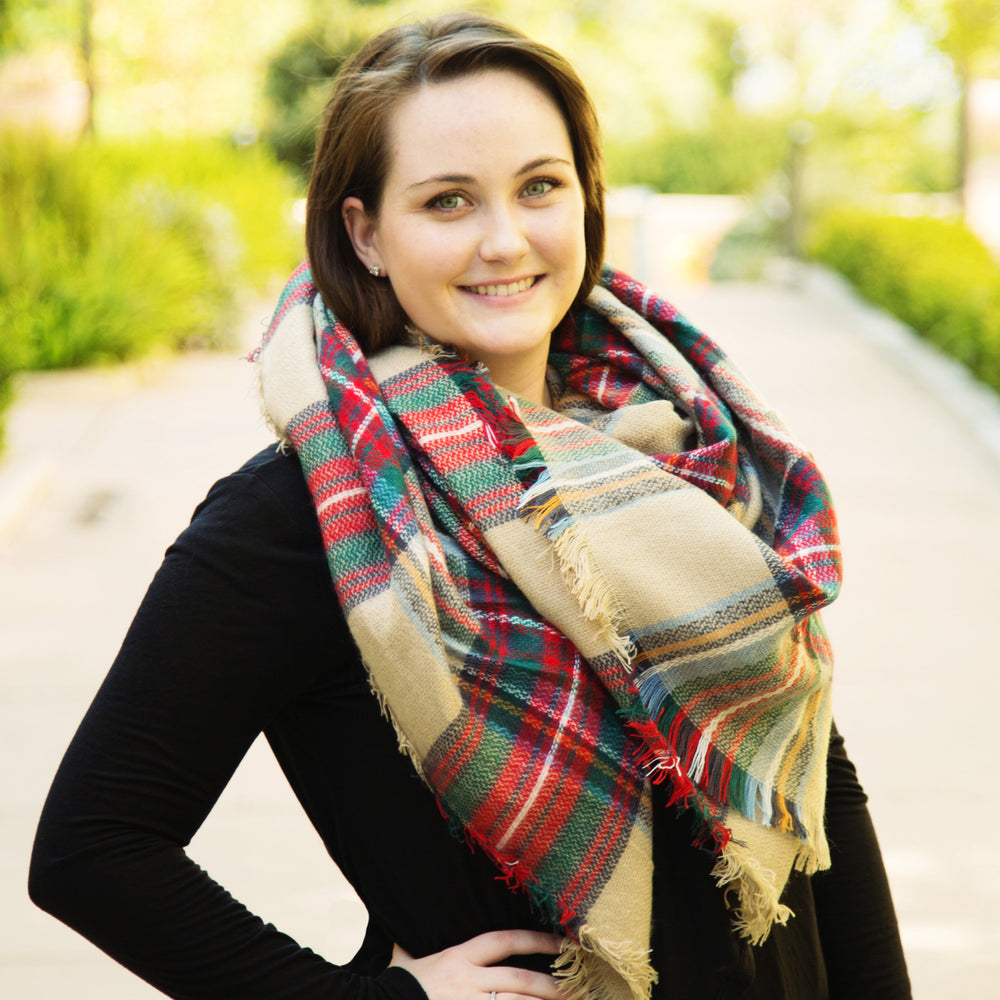 Plaid Blanket Scarf - Tan Green Red - Tickled Teal LLC