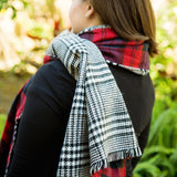 Red Checker Plaid Blanket Scarf - Tickled Teal LLC
