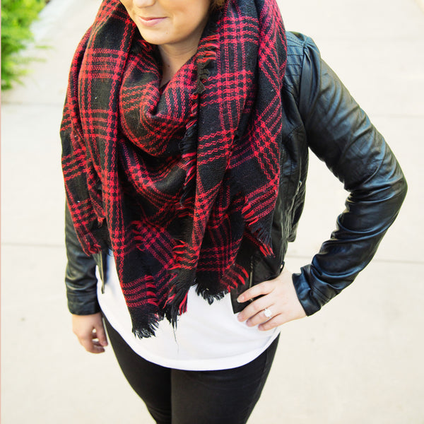Red Black Plaid Blanket Scarf - Tickled Teal LLC