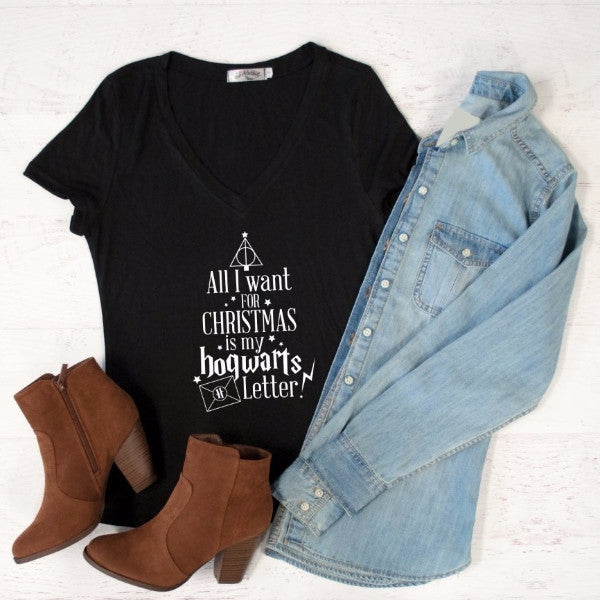 All I want for Christmas is My Hogwarts Letter Tshirt - Tickled Teal LLC