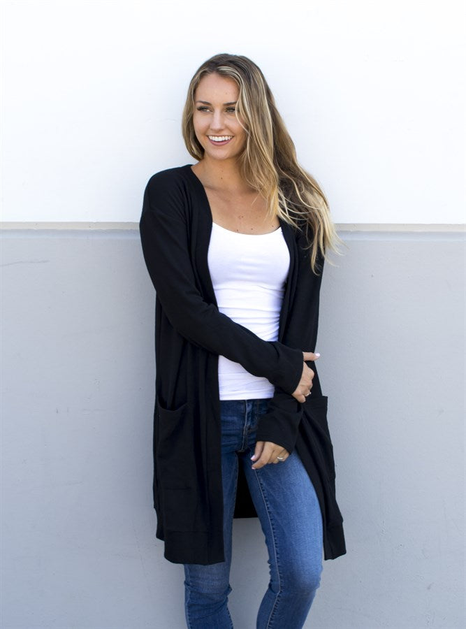 Soft & Comfy Cardigan - Black - Tickled Teal LLC