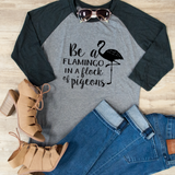 Be a Flamingo Raglan Tee - Tickled Teal LLC