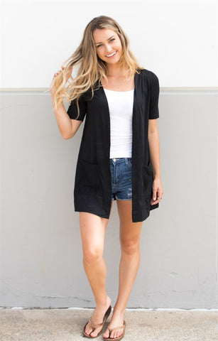 Perfect Boyfriend Cardigan - Black - Tickled Teal LLC