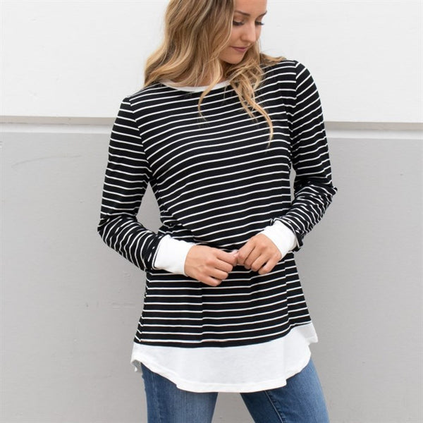 Striped Paige Top - Black - Tickled Teal LLC