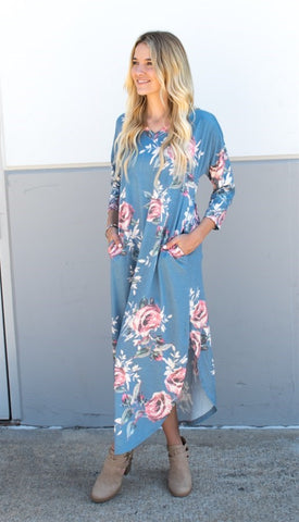 3/4 Sleeve Floral Relaxed Maxi - Blue - Tickled Teal LLC