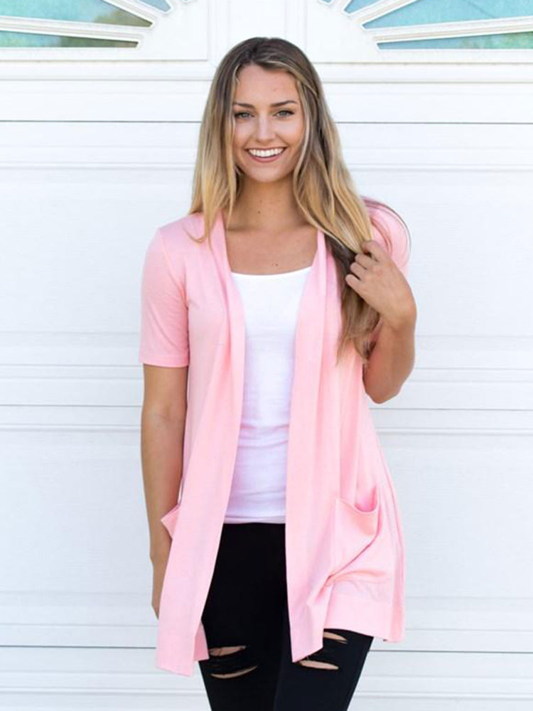 Short Sleeve Perfect Boyfriend Cardigan - Blush Pink