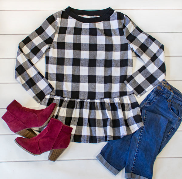 Buffalo Plaid Peplum - White - Tickled Teal LLC