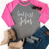 But First Jesus Raglan Tee - Tickled Teal LLC