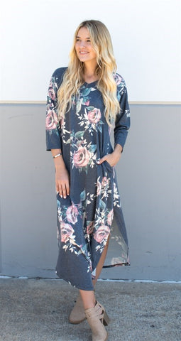 3/4 Sleeve Floral Relaxed Maxi - Charcoal - Tickled Teal LLC