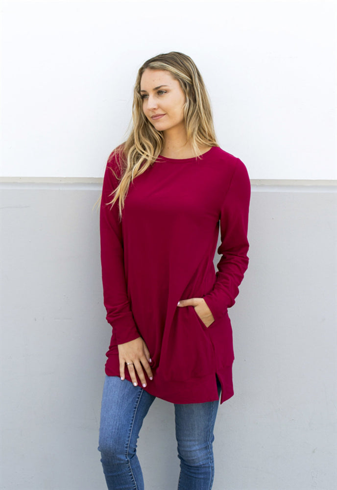 Soft & Cozy Sweater Tunic - Cranberry - Tickled Teal LLC