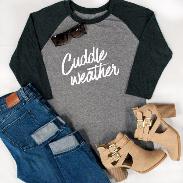 Cuddle Weather Raglan Tee - Tickled Teal LLC