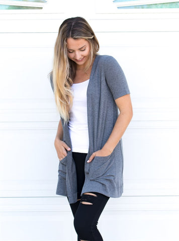 Perfect Boyfriend Cardigan - Gray - Tickled Teal LLC