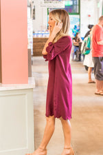 Haylie Scallop Dress - Maroon - Tickled Teal LLC