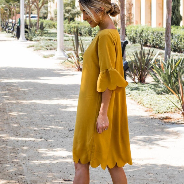 Haylie Scallop Dress - Mustard - Tickled Teal LLC