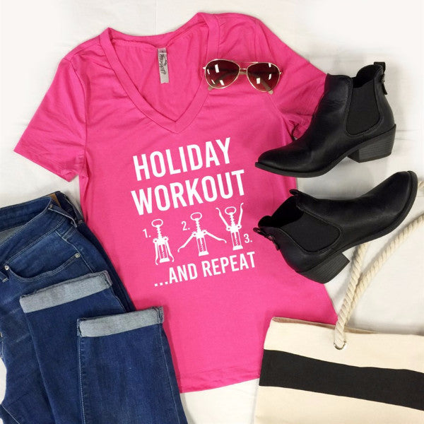 Holiday Workout And Repeat Tshirt - Tickled Teal LLC