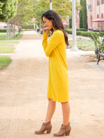 Long Sleeve Pocket Dress - Yellow