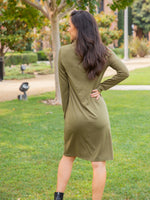 Long Sleeve Pocket Dress - Olive