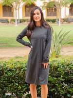 Long Sleeve Pocket Dress - Charcoal