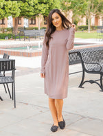 Long Sleeve Pocket Dress - Mocha Brown