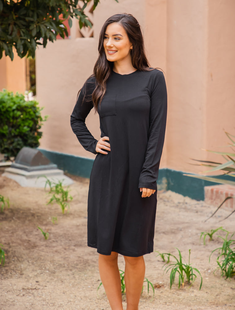Long Sleeve Pocket Dress - Black
