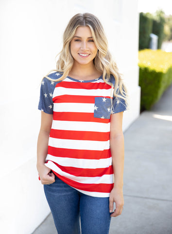 Raglan Pocket Patriotic Tee