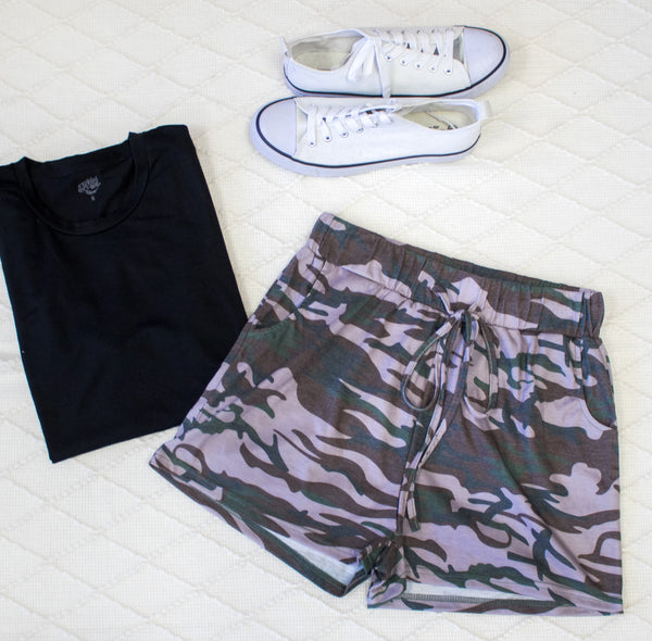 Camo Lounge Shorts - Purple - Tickled Teal LLC