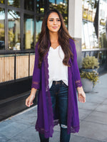 3/4 Sleeve Lace Trim Cardigan - Purple