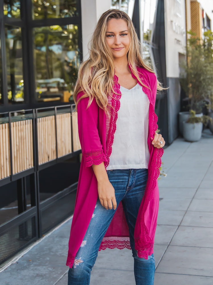 3/4 Sleeve Lace Trim Cardigan - Magenta