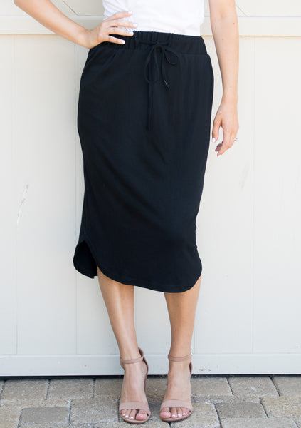 Laidback Midi Skirt - Black - Tickled Teal LLC