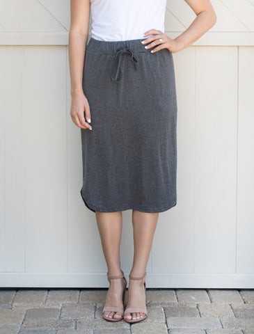 Laidback Midi Skirt - Charcoal - Tickled Teal LLC