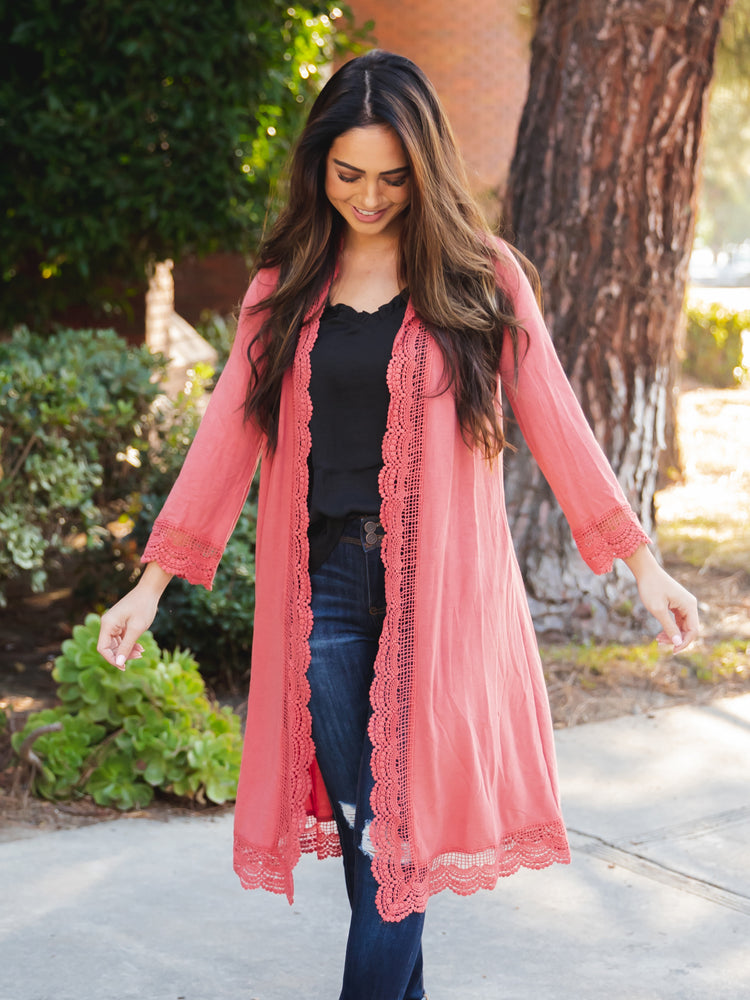 3/4 Sleeve Lace Trim Cardigan - Coral