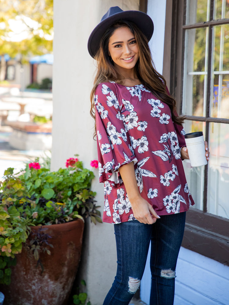 Austin Top - Berry Floral