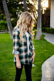 The Whitney Plaid Top - Green