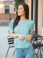 Elara Top - Teal Animal Print